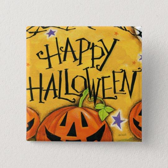 Happy Halloween Pumpkins 15 Cm Square Badge