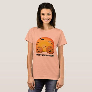 Happy Halloween Pumpkins Bats Orange Moon T-Shirt