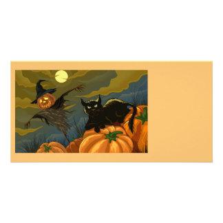 Happy Halloween Pumpkins Black Cat Card