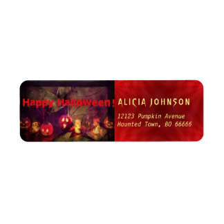 Happy Halloween pumpkins party supplies Return Address Label