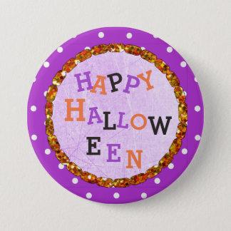 Happy Halloween Purple and Orange Buttons