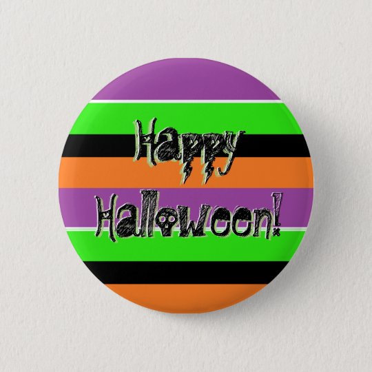 Happy Halloween Purple Black Lime Green Pin