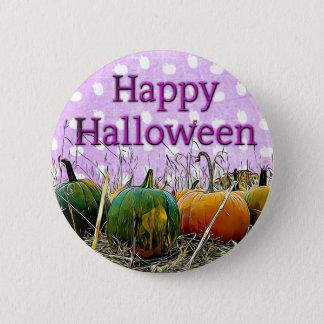 Happy Halloween Purple Pumpkin Patch Button