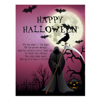 Happy Halloween Purple Spooky Night Postcard