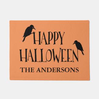 Happy Halloween Raven Personalized Doormat