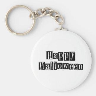 Happy Halloween Retro Blocks Basic Round Button Key Ring