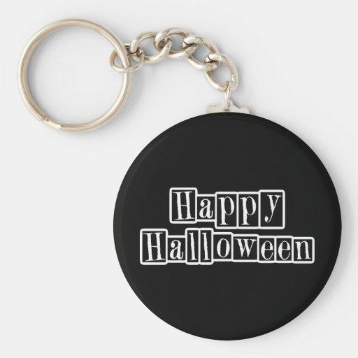 Happy Halloween Retro Blocks Key Chain