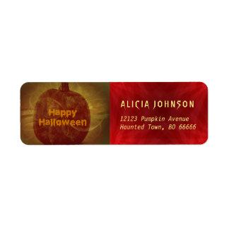 Happy Halloween rusty orange yellow red pumpkin Return Address Label