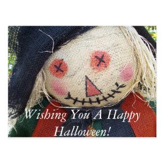 Happy Halloween Scarecrow Postcard