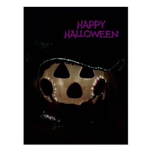 Happy Halloween Scarecrow Pumpkin Postcard