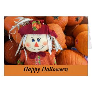 Happy Halloween Scarecrow & Pumpkins Card