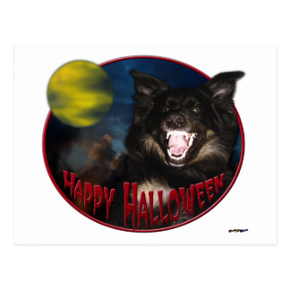 Happy Halloween Scary Wolf Postcard