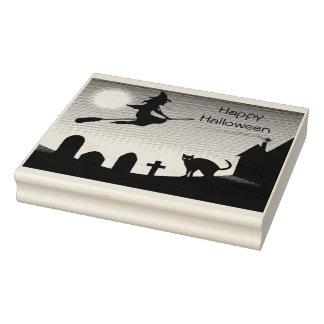 Happy Halloween Scene- Rubber Stamp