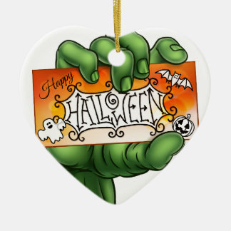 Happy Halloween Sign Monster Zombie Hand Christmas Ornament
