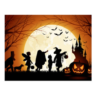 Happy Halloween Silhouette Children Postcard