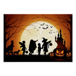 Happy Halloween Silhouette Children Poster