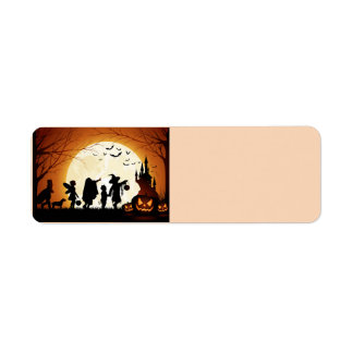 Happy Halloween Silhouette Children Return Address Label