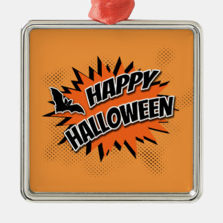 Happy Halloween Silver-Colored Square Decoration