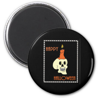 Happy Halloween Skull And Candle Magnet
