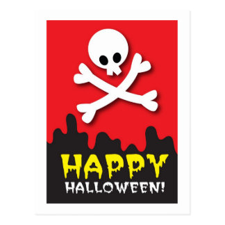 Happy Halloween! skull and crossbones Postcard