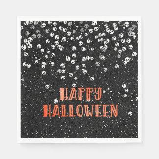 Happy Halloween Skull and Glitter Design Paper Napkins