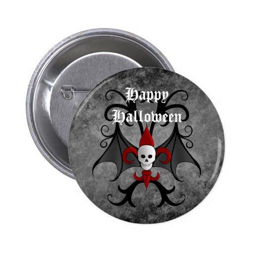 Happy Halloween skull and red fleur de lis Button