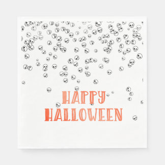Happy Halloween Skull Confetti Disposable Serviettes
