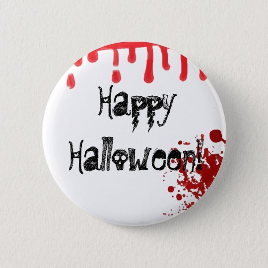 Happy Halloween Skull Text Blood Drip Splatter Pin