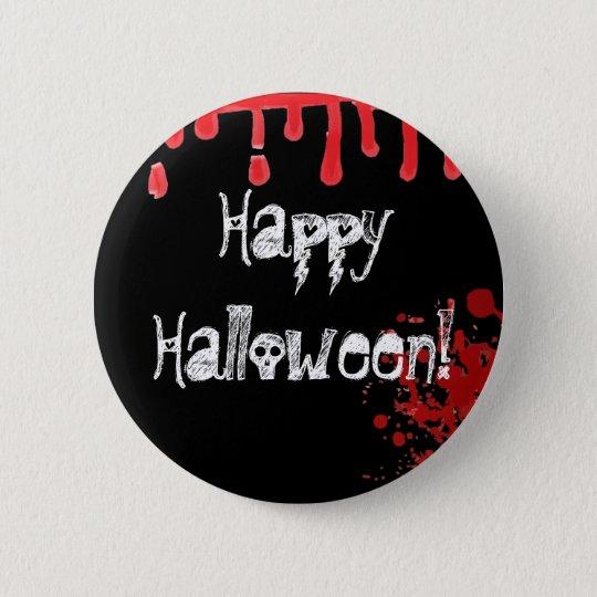 Happy Halloween Skull Text Blood Drip Splatter Pin