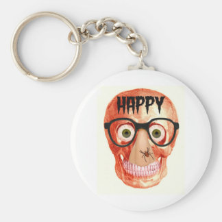 HAPPY HALLOWEEN SKULL WITH PARTY GLASSES KEY CHAIN