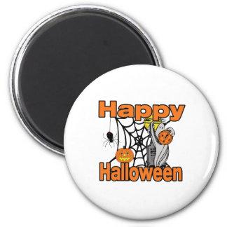 Happy Halloween Spider Web Ghost Refrigerator Magnet