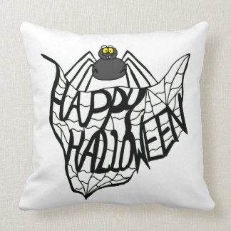 Happy Halloween Spider Web Throw Pillow