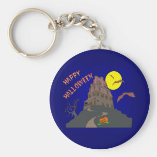 happy Halloween spook house striking Ted house Keychain