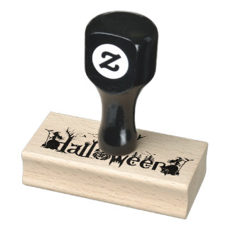 Happy Halloween Spooky Concept Typography Rubber Stamp