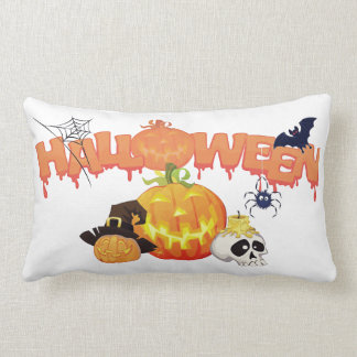 Happy Halloween Spooky Decorated Lumbar Pillow