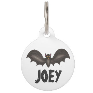 Happy Halloween Spooky Flying Black Bat Pet Tag