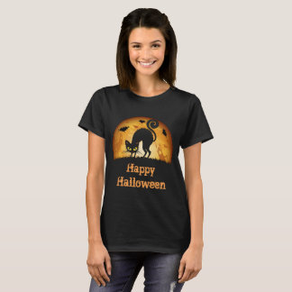 Happy Halloween Spooky Haunted black cat T-shirt