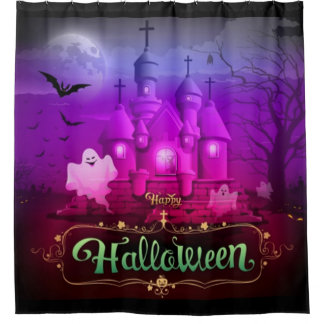 Happy Halloween Spooky Haunted House Shower Curtain