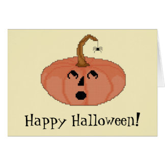 Happy Halloween! Startled Pumpkin Notecard