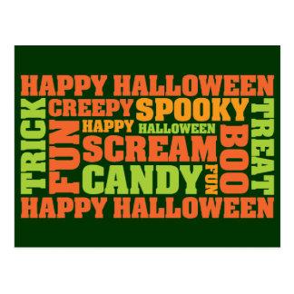 Happy Halloween Stylish Text Art Postcard