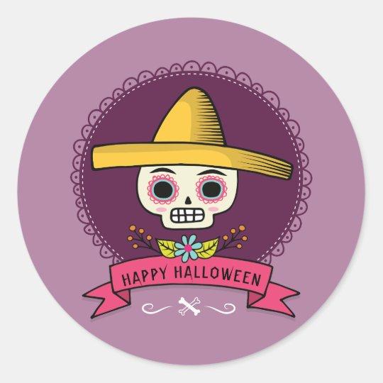Happy Halloween. Sugar Skull. Classic Round Sticker