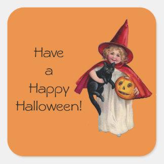 Happy Halloween Sweet Little Vintage Witch Sticker