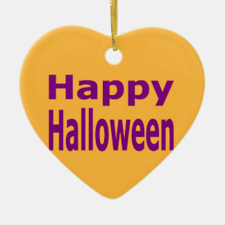 Happy Halloween Text In Purple Ceramic Heart Decoration