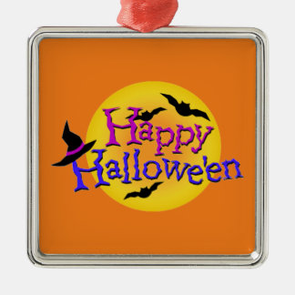 Happy Halloween text with bats and witch hat Christmas Ornament