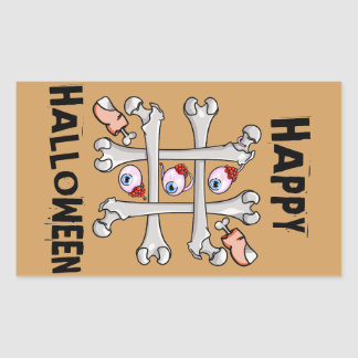 Happy Halloween Tic Tack Real Toes Rectangular Sticker