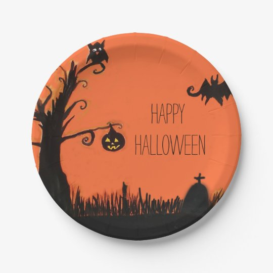 Happy Halloween Tree Ghost Bat Paper Plates