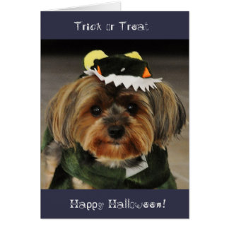 Happy Halloween! Trick or Treat Yorkshire terrier Card