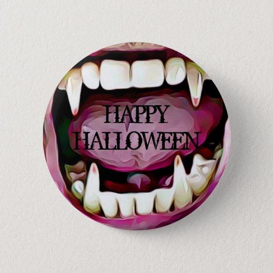 Happy Halloween Vampire Fangs Button