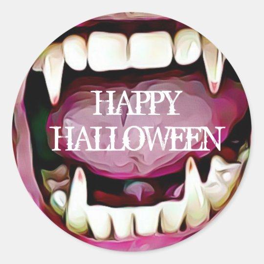 Happy Halloween Vampire Fangs Stickers