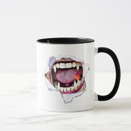 Happy Halloween Vampire Fangs with Blood Mug